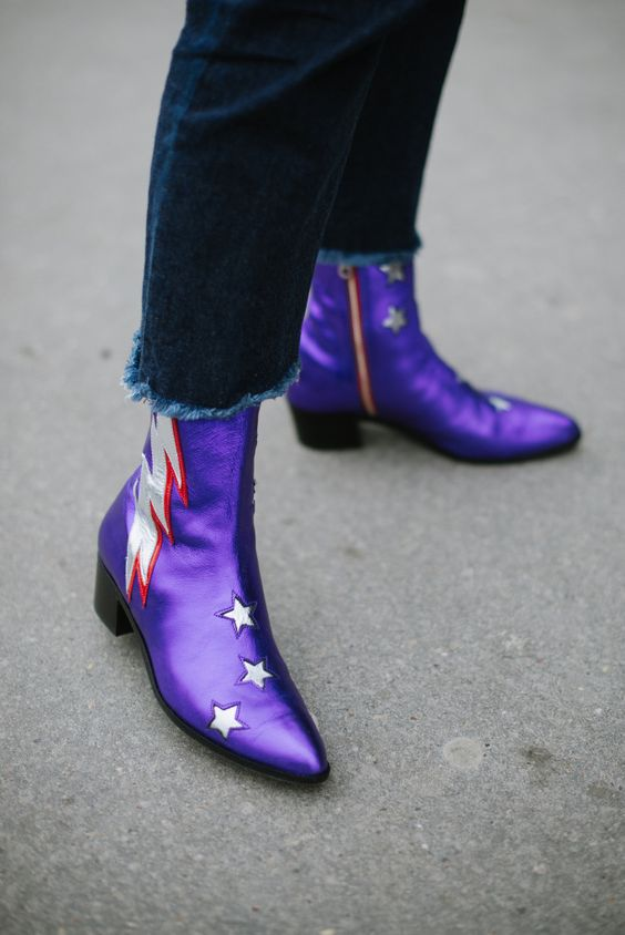 Purple Beatle boots with rock n' roll details   Paris Fashion Week Haute Couture Spring 2017   Girlfriend is Better