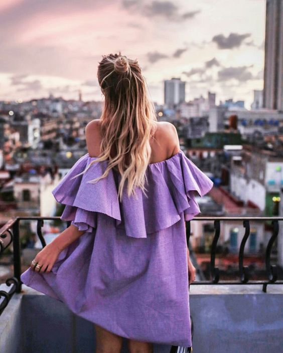 Purple sun dress off the shoulder with big ruffles   Spring fashion   Girlfriend is Better
