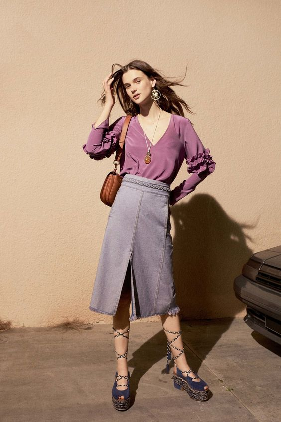 Muted purple pairs well with grey and brown for the office   See by Chloé Spring 2017 Ready-to-Wear   Girlfriend is Better