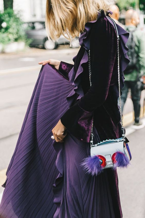 Purple velvet jacket and pleated skirt   Spring fashion   Girlfriend is Better