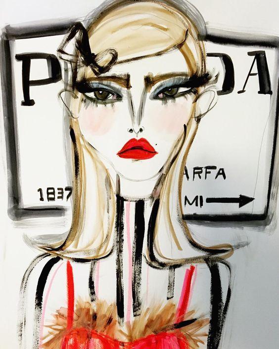 Prada fashion illustration by Blair Breitenstein   Girlfriend is Better