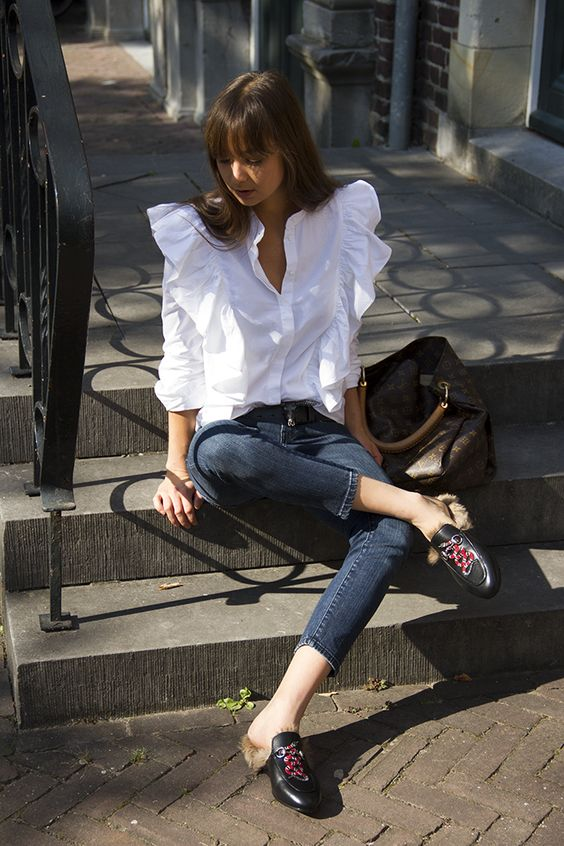 Ruffles on crisp with blouse with Gucci slides   Girlfriend is Better