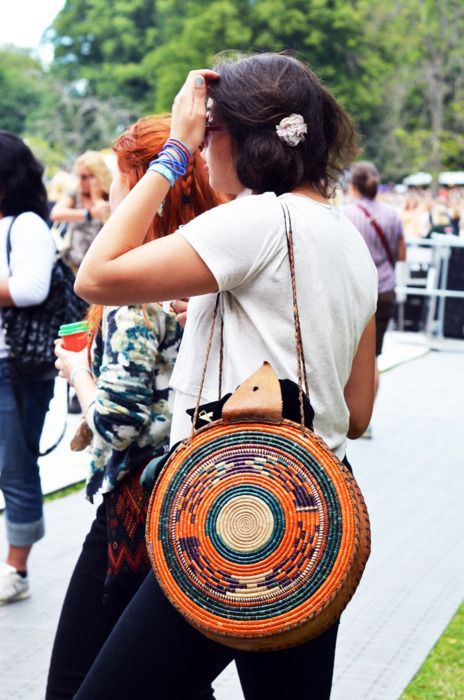 Bohemian straw purse with color weave | Girlfriend is Better