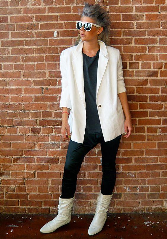 White boots + white blazer   Girlfriend is Better