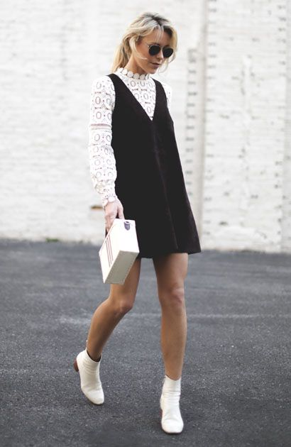 White boots with a mini jumper dress   Girlfriend is Better