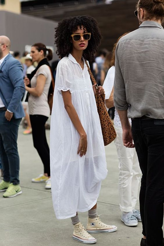 All white dress and Converse shoes   Girlfriend is Better