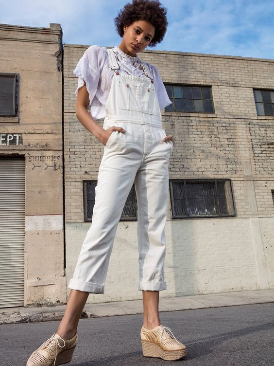 All white overalls and sheer blouse   Girlfriend is Better