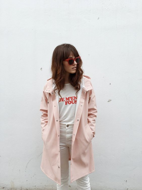All white pants and graphic tee with pink coat   Girlfriend is Better
