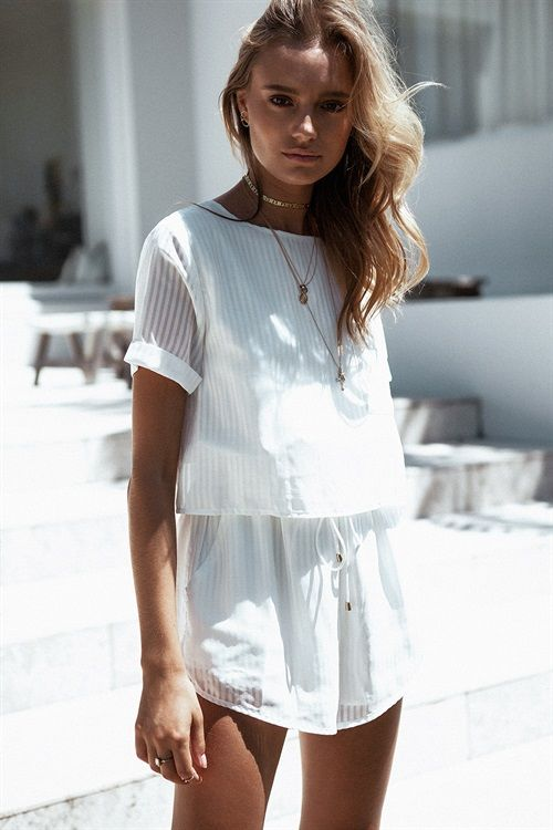 All white playsuit in opaque fabric   Girlfriend is Better