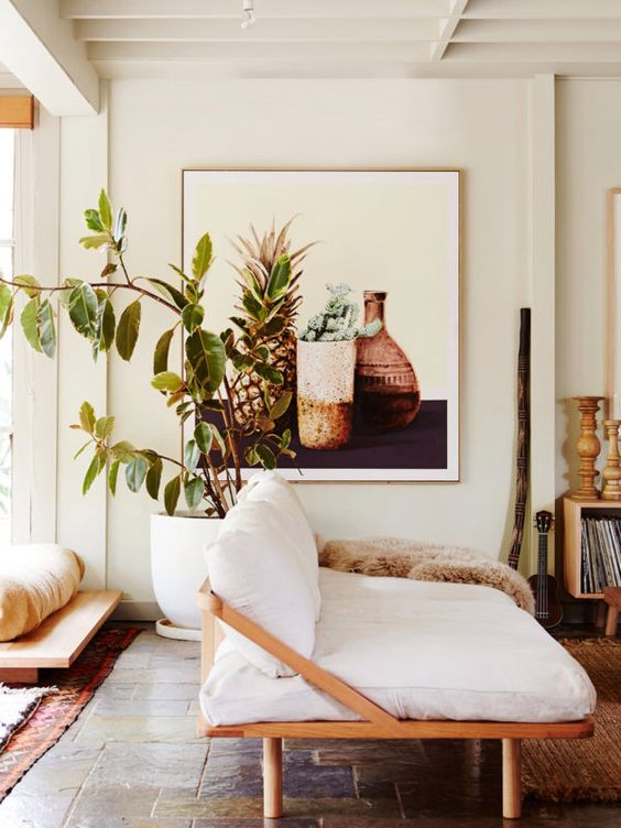 Oversized art with tropical fruits or plants liven up natural decor | Girlfriend is Better