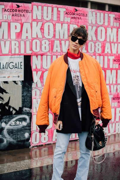 Bomber jacket in yellow and orange for spring | Girlfriend is Better