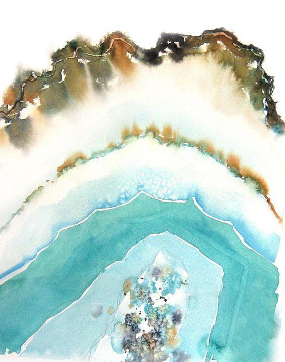 Agate watercolor artwork by NancyKnightArt via Etsy | Girlfriend is Better
