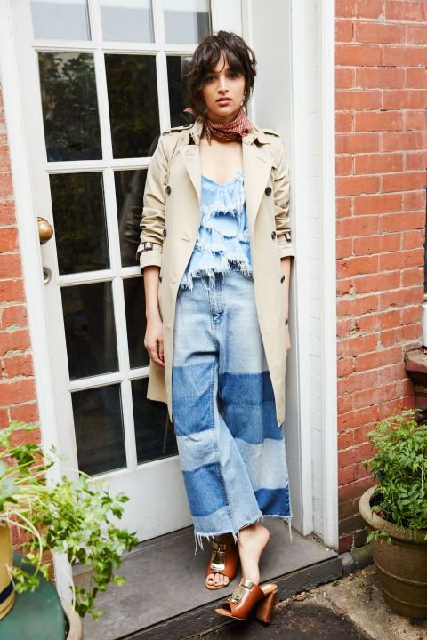 Patchwork denim culottes, distressed top, neck scarf   Girlfriend is Better