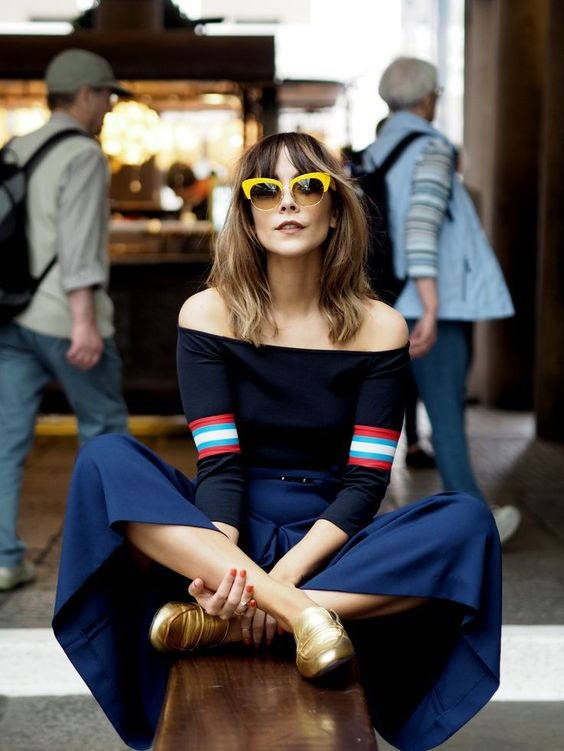 Gaucho style culotte pants with loafers and vintage sunglasses   Girlfriend is Better