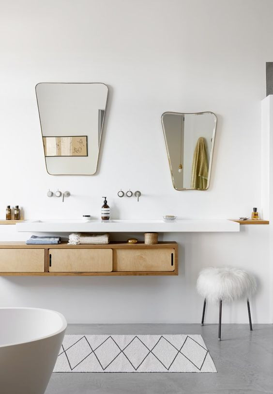 Geometric mirrors | Atomic style bathroom vanity | Girlfriend is Better