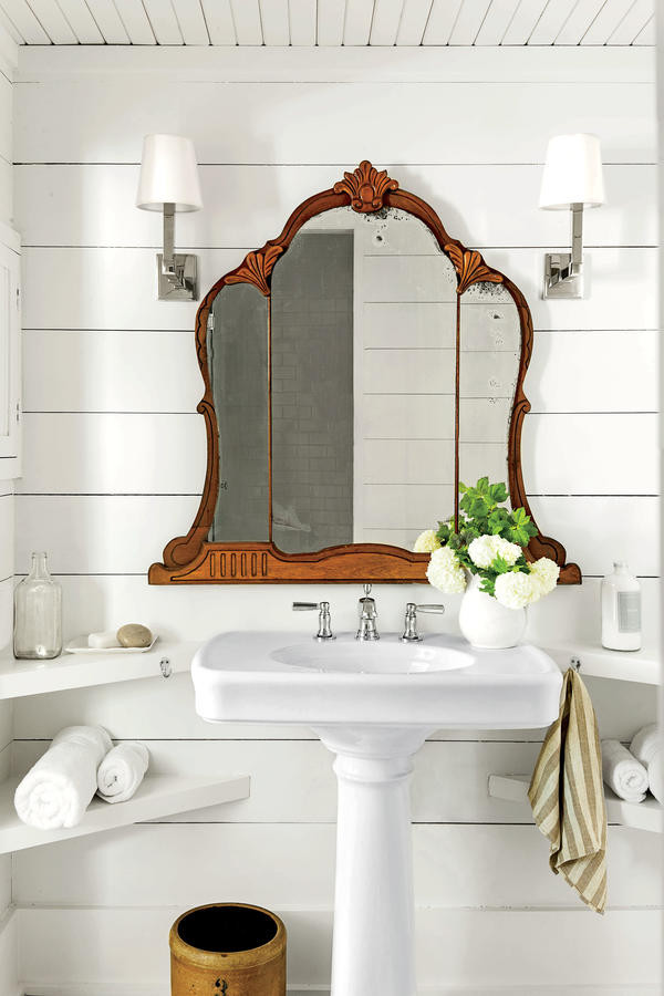 Vintage Southern geometric mirrors warm up a modern powder room | Girlfriend is Better