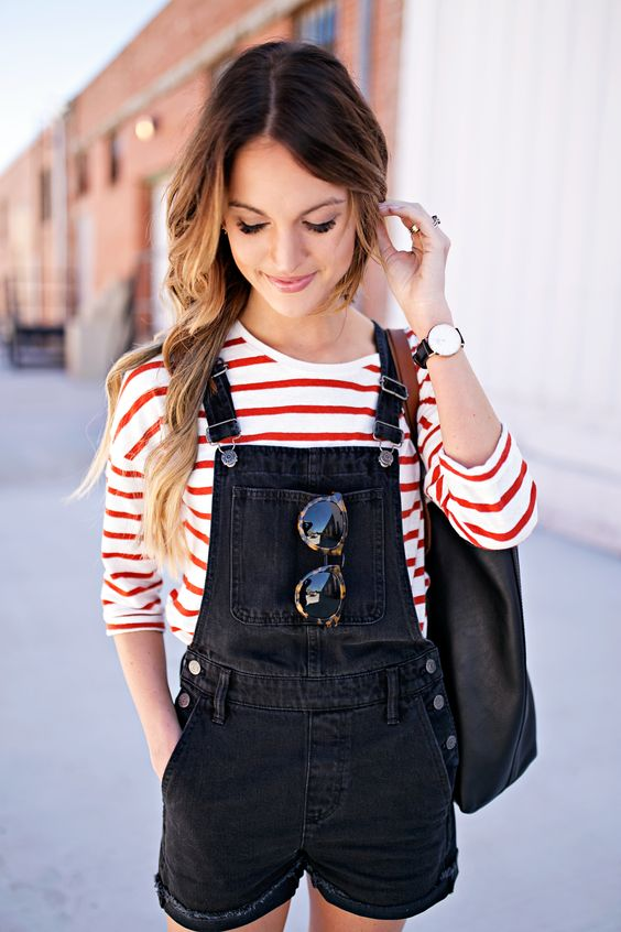Stripes paired with overall shorts   Girlfriend is Better