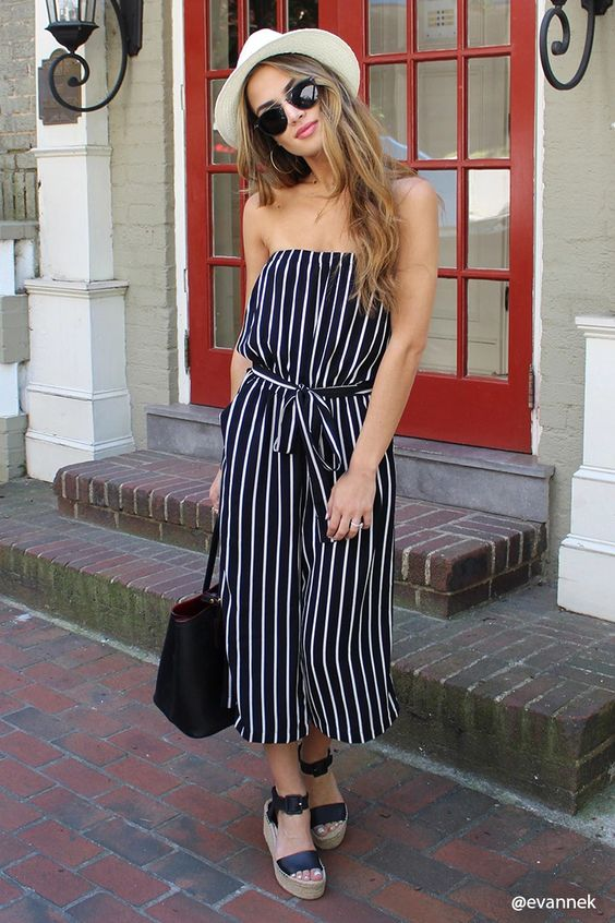 Stripes on a strapless jumpsuit with wide-leg culotte pants   Girlfriend is Better