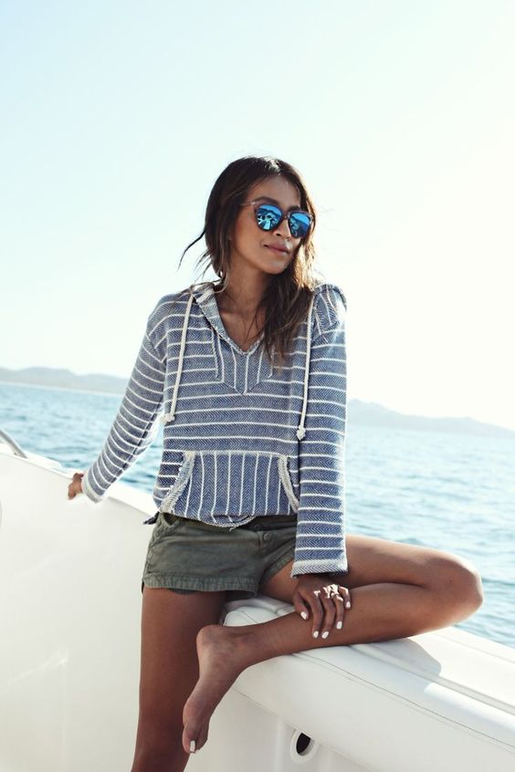 Terry cloth hoodie in stripes are a California staple   Girlfriend is Better