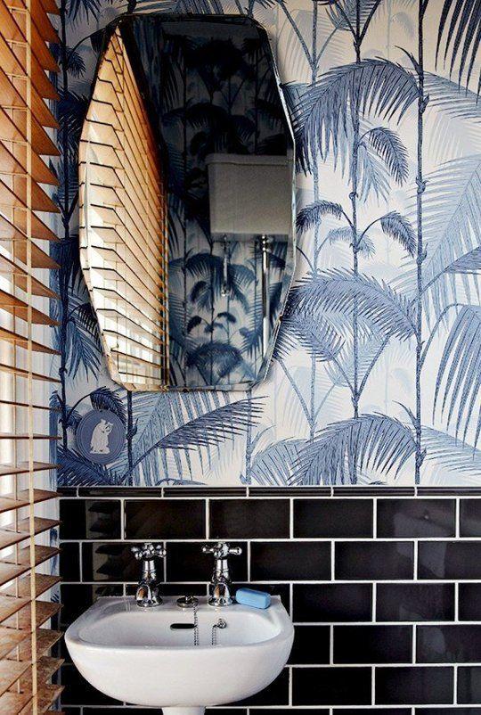 Surf shack style powder room wallpaper   Girlfriend is Better