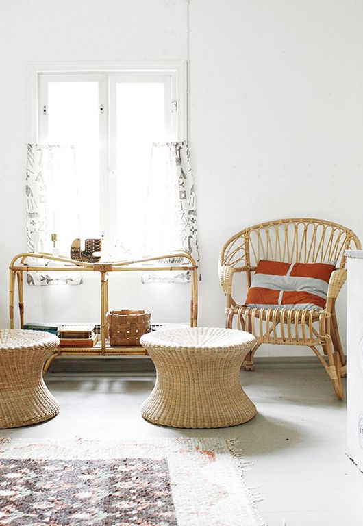 Bamboo chair, wicker ottoman and side table   Girlfriend is Better