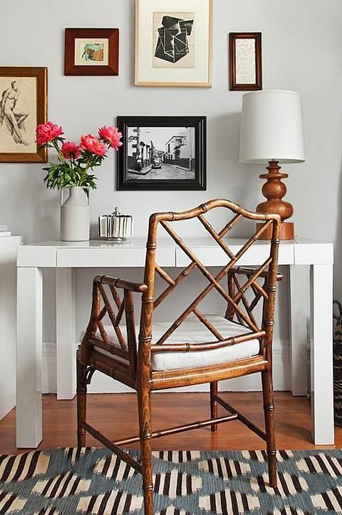 Bamboo chair and Parsons desk with gallery wall   Girlfriend is Better