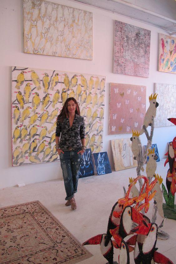 Hunt Slonem studio in New York City   Girlfriend is Better