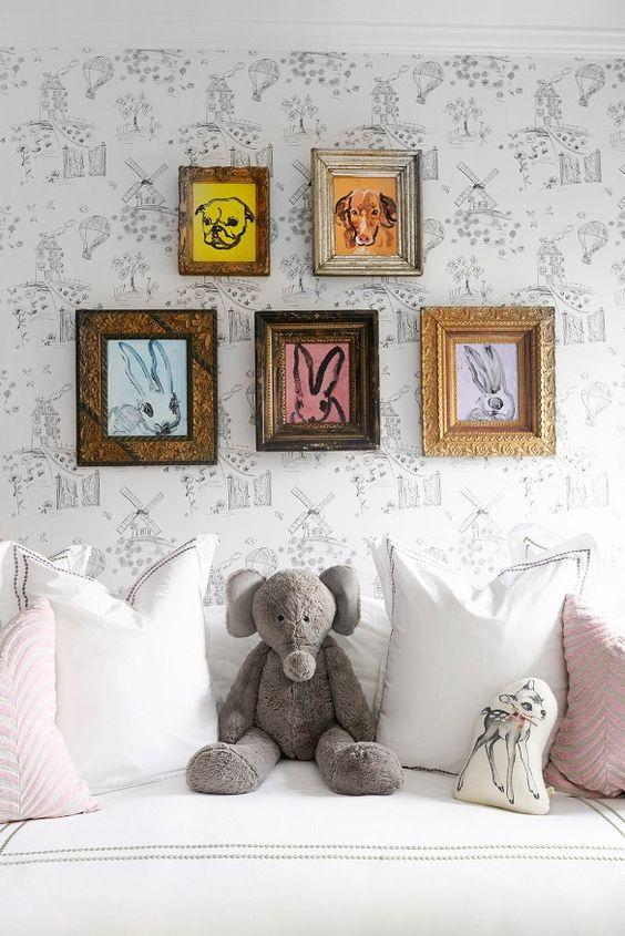Hunt Slonem gallery wall for nursery   Girlfriend is Better