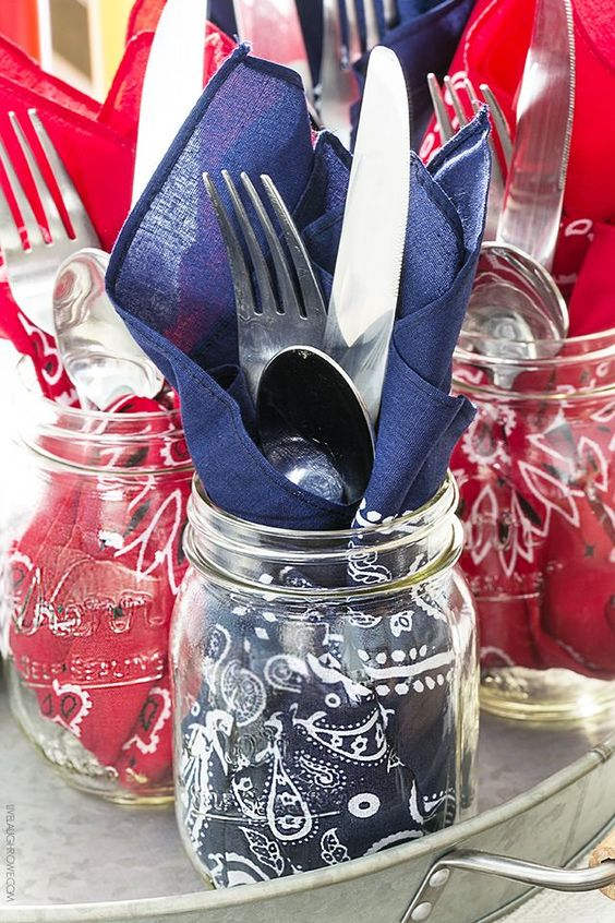 Bandana napkins + silverware in Bell jar for patio party decor | Girlfriend is Better