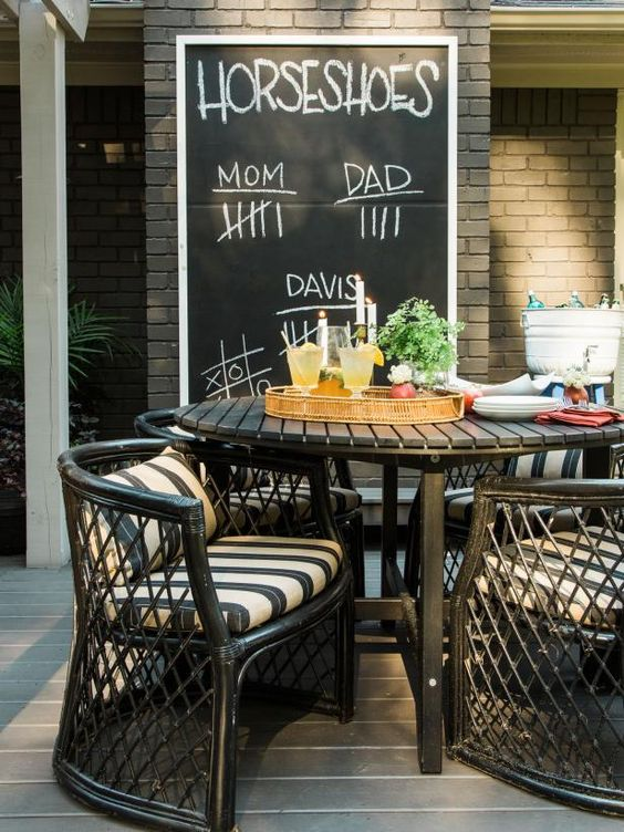 DIY patio chalkboard for party games | Girlfriend is Better
