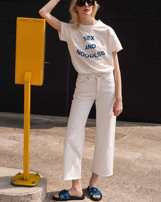 Sex and noodles graphic tee, all white summer outfit, athleisure sandals slides | Girlfriend is Better