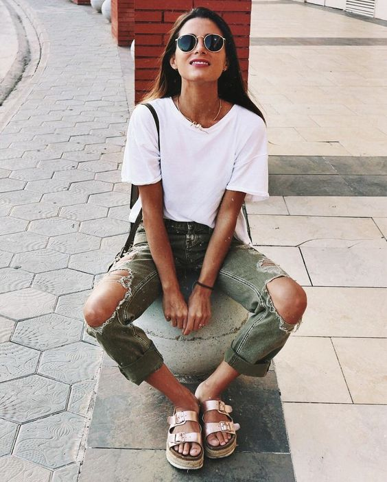 Gold Birkenstock sandals with ripped knee chinos | Girlfriend is Better