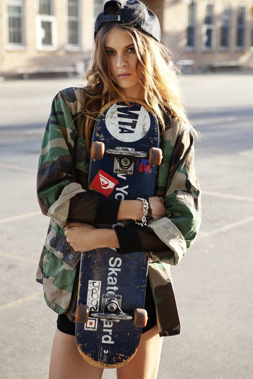 Skate style with baseball hat and camouflage jacket   Girlfriend is Better