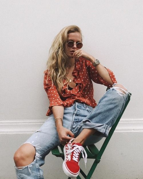 Skate style with Vans low tops, ripped boyfriend jeans, and blouse with ruffles   Girlfriend is Better