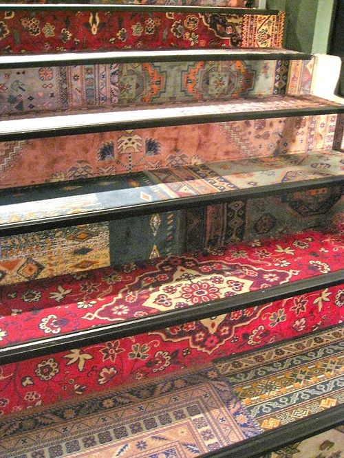 Vintage Persian rugs recycled on a staircase | Girlfriend is Better