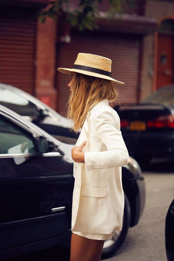 Straw hats boater style with summer suit   Girlfriend is Better