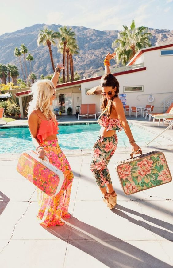 Luggage and pant in vintage Summer florals | Girlfriend is Better
