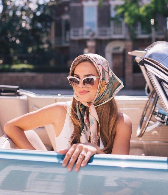 Glam head scarf in Summer florals | Girlfriend is Better