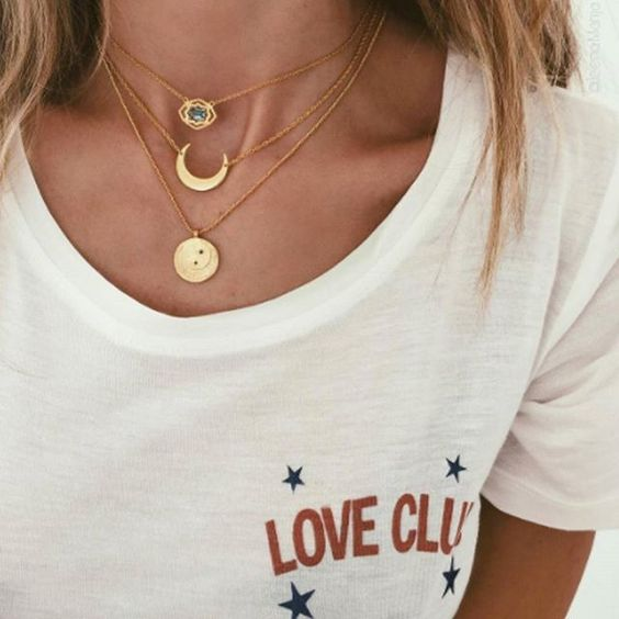 Layering coin necklaces with celestial pendants | Girlfriend is Better