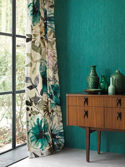 Floral curtains green wall mid century modern sideboard | Girlfriend is Better