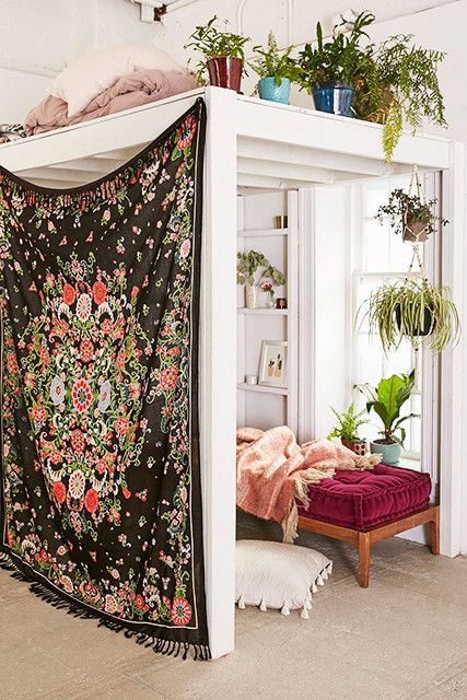 Tapestry in loft area floral curtains | Girlfriend is Better