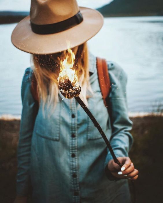 Hiking clothes   Chambray blouse + Wide brim felt hat   Girlfriend is Better