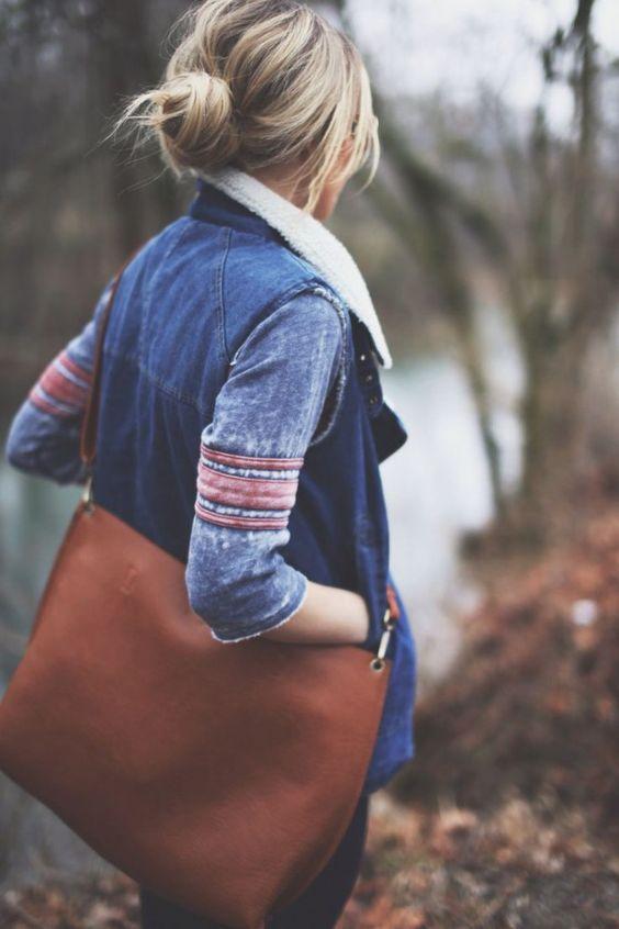 Denim vest with sheepskin collar   Hiking clothes   Girlfriend is Better
