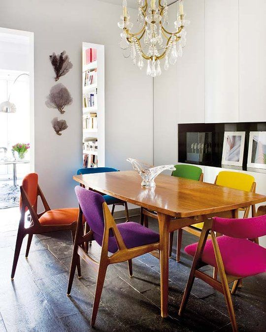 Upholstered mid-century modern dining chairs   Girlfriend is Better