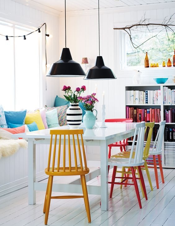 Mix-and-match paint colors of rainbow dining chairs   Girlfriend is Better