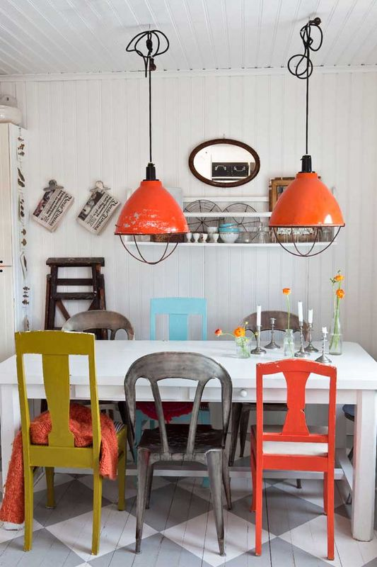 Industrial rainbow dining chairs   Girlfriend is Better