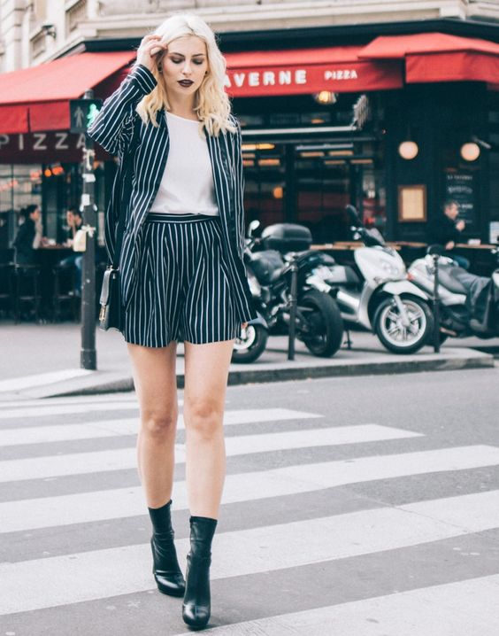 Pinstriped shorts suit with black socks   Girlfriend is Better