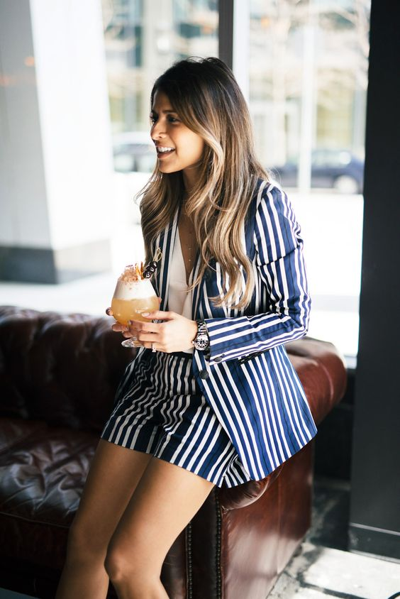Striped blazer and shorts suit   Girlfriend is Better