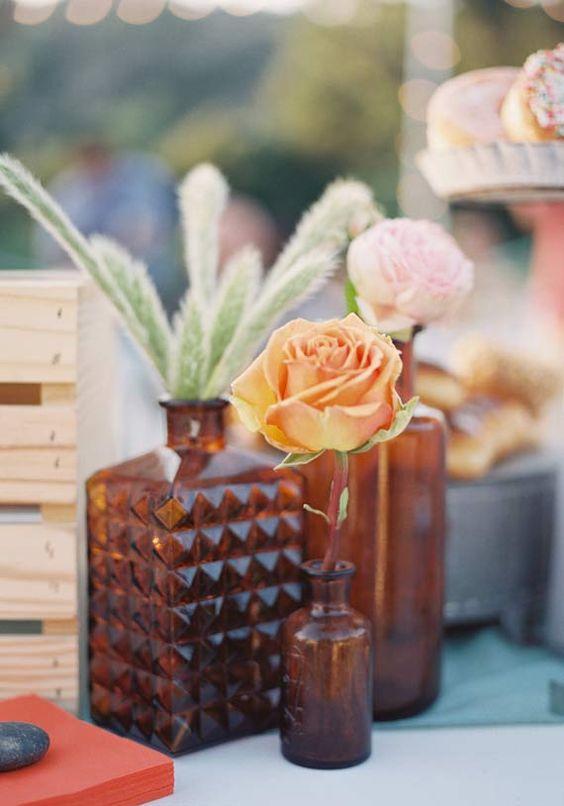 Amber glassware | Bottles as vases for Fall table settings | Girlfriend is Better