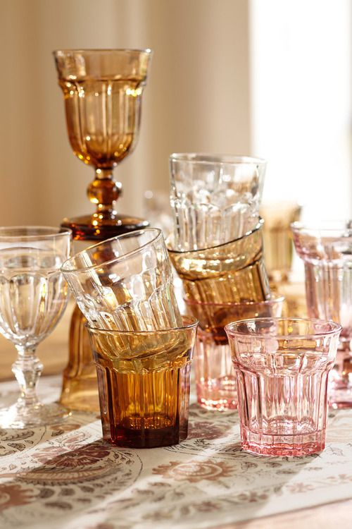 Amber glassware set from 2012 Pottery Barn | Girlfriend is Better